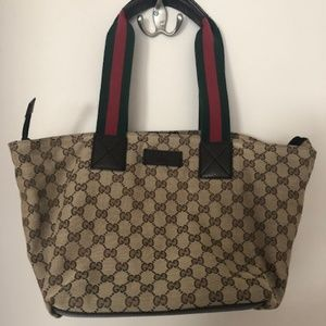 Gucci Logo Canvas and Brown Leather Web Tote